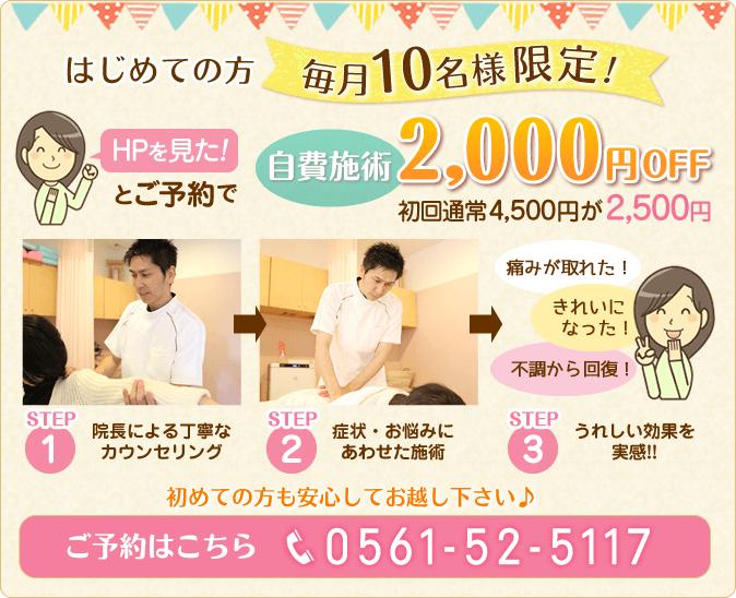 HPリニューアルキャンペーン HPを見たで自費治療2000円OFF